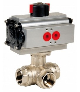 513 L port - 3 way brass ball valve double acting
