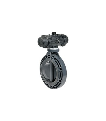 PL1 - PVC-U - Butterfly valve with pneumatic actuator FKM seat