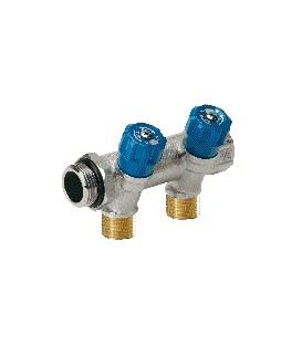Sanitary manifolds with built-in valves blue valve