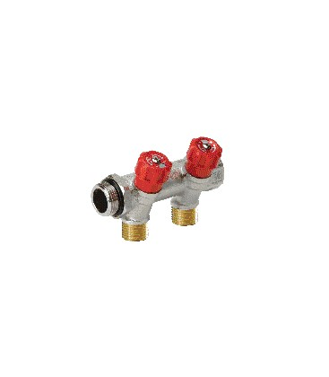 Sanitary manifolds with built-in valves red valve
