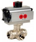 514 T port - 3 way brass ball valve spring return
