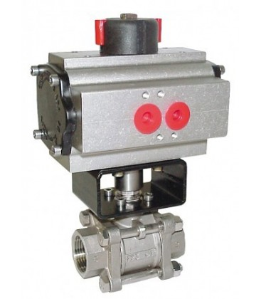 747 XS - 3 piece stainless steel ball valve double acting