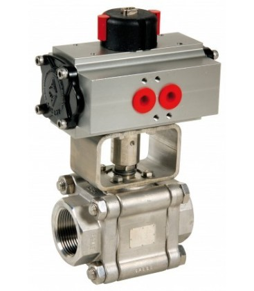703 - 3 piece stainless steel ball valve double acting