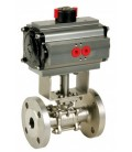 711 - 3 piece flanged stainless steel ball valve double acting