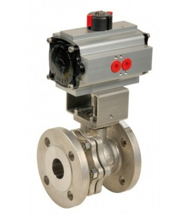 757 - Split-body stainless steel flanged ball valve double acting