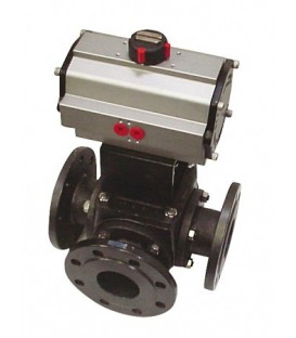 783 L - 3 way carbon steel flanged ball valve double acting