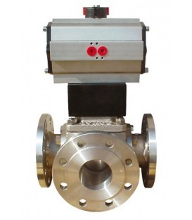 785 L - 3 way stainless steel flanged ball valve double acting
